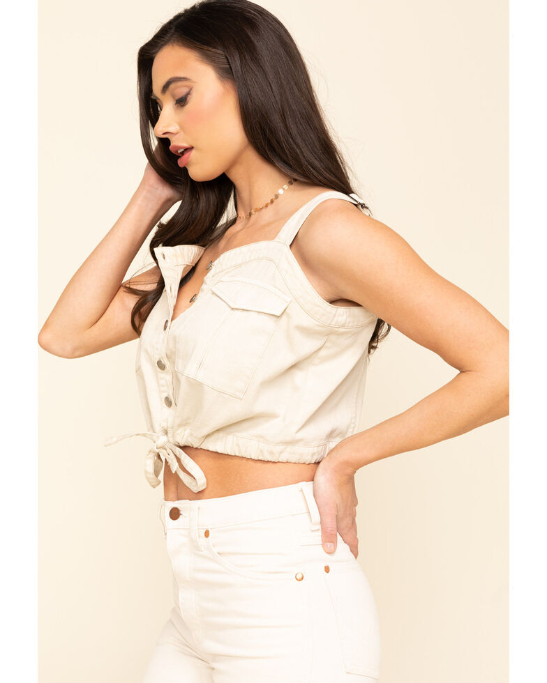 Free People Women's Ivory Palm Desert Denim Top, Ivory, hi-res