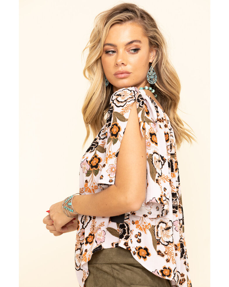 Shyanne Women's Lavender Floral Off The Shoulder Festival Top, Lavender, hi-res