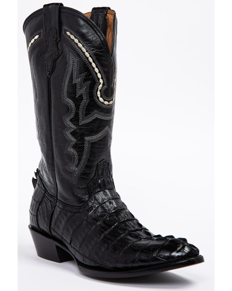 Ferrini Caiman Tail Cowboy Boots - Medium Toe, Black, hi-res