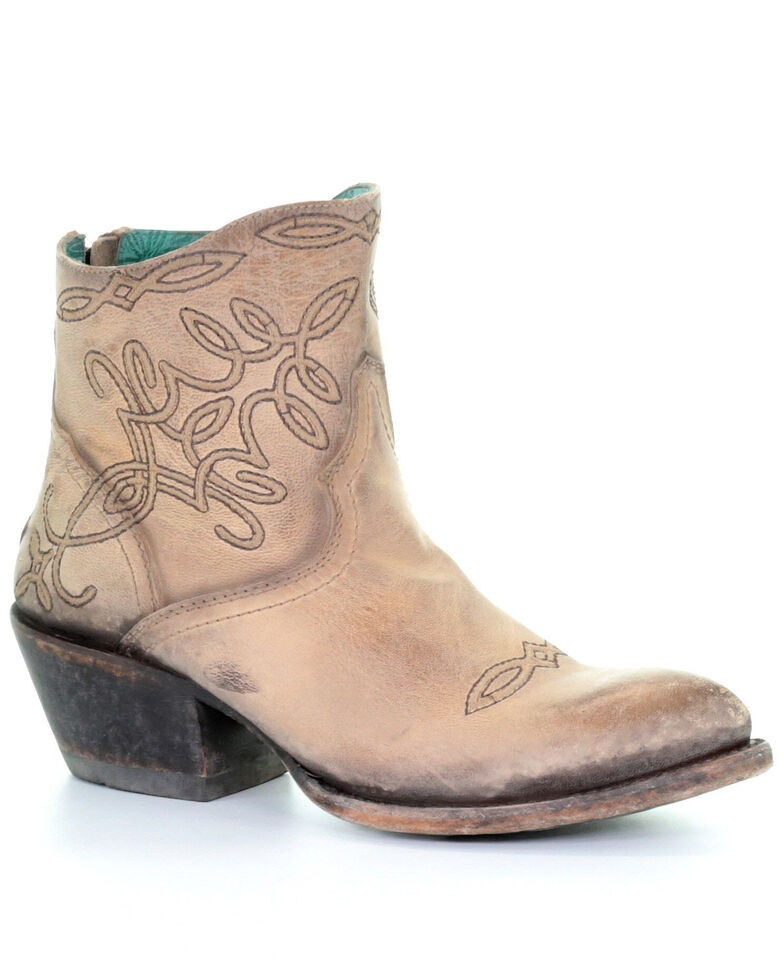 Corral Women's Beige Embroidered Western Fashion Booties - Snip Toe , Beige/khaki, hi-res