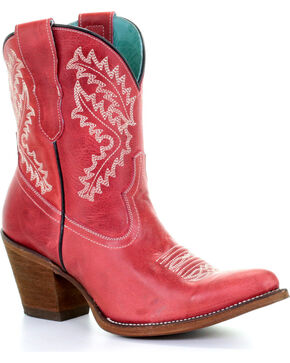 Corral Women's Rojo Embroidered Booties - Snip Toe, Red, hi-res