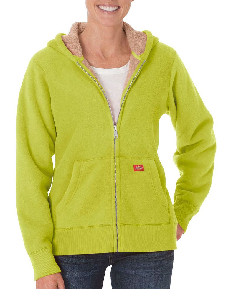 Dickies Women's Sherpa Lined Fleece Jacket, Lime, hi-res