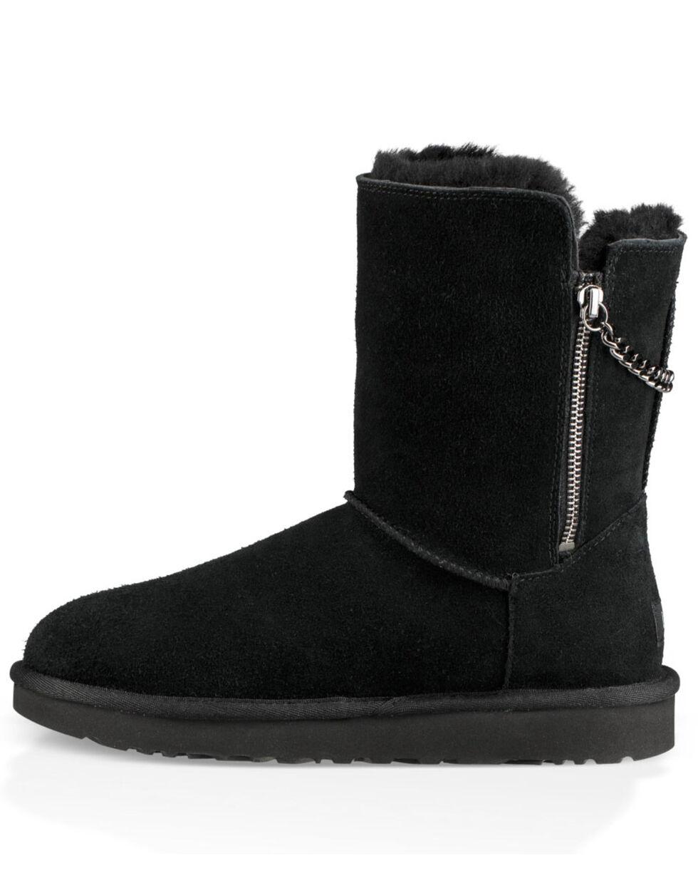 UGG Women's Black Classic Short Sparkle Zip Boots - Round Toe, Black, hi-res