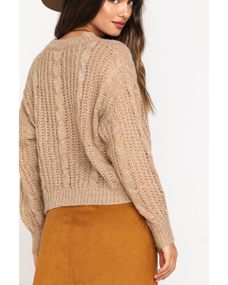 Molly Bracken Women's Cable Knit Sweater, Gold, hi-res