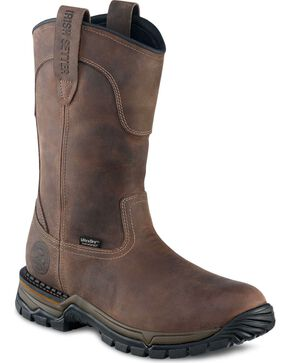 Red Wing Irish Setter Two Harbors Waterproof Pull-On Work Boots - Round Toe, Brown, hi-res