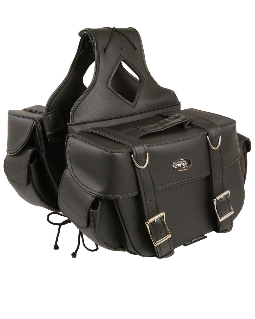 Milwaukee Leather Medium PVC Saddle Bag, Black, hi-res