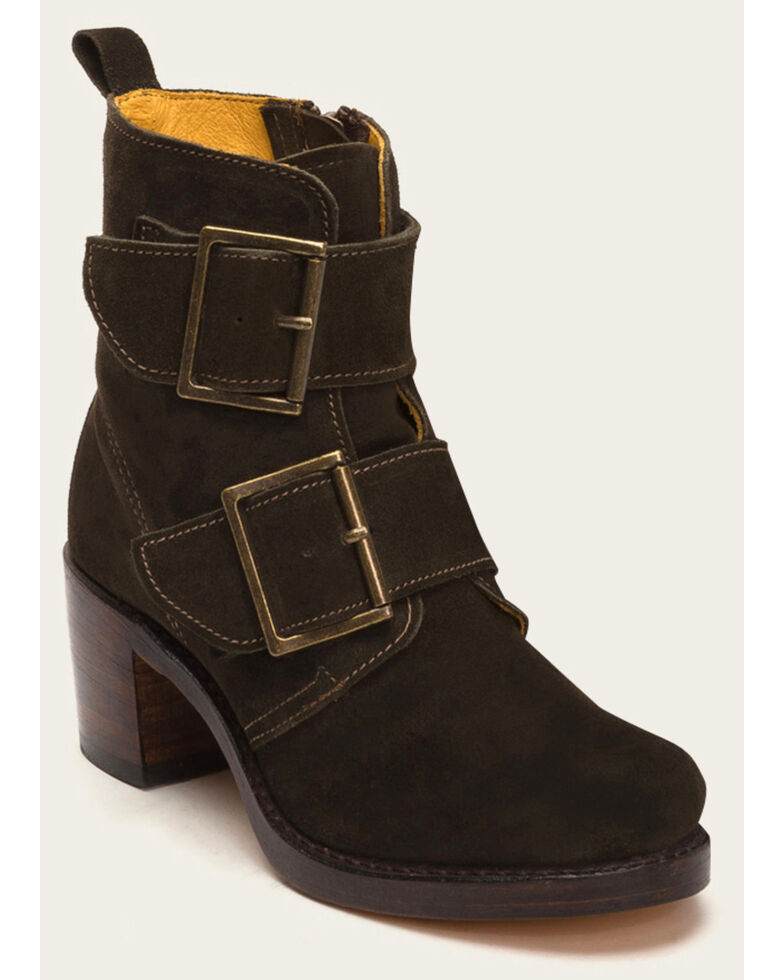 Frye Women's Sabrina Double Buckle Brown Suede Booties, Brown, hi-res
