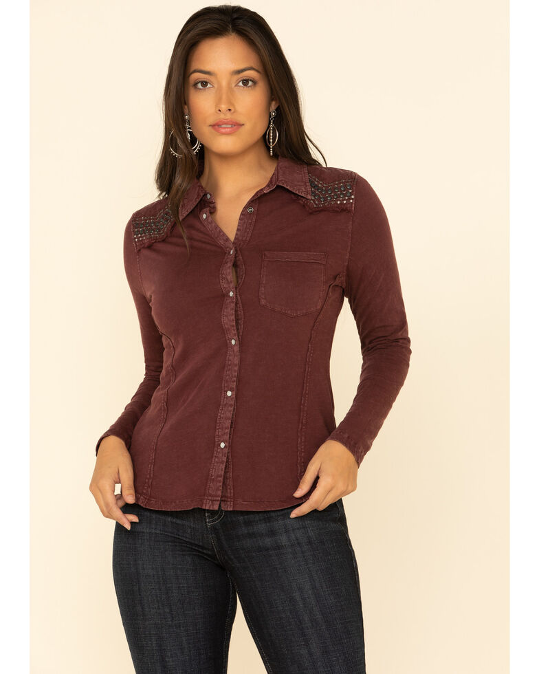 Idyllwind Women's Snappy Western Button Top , Burgundy, hi-res