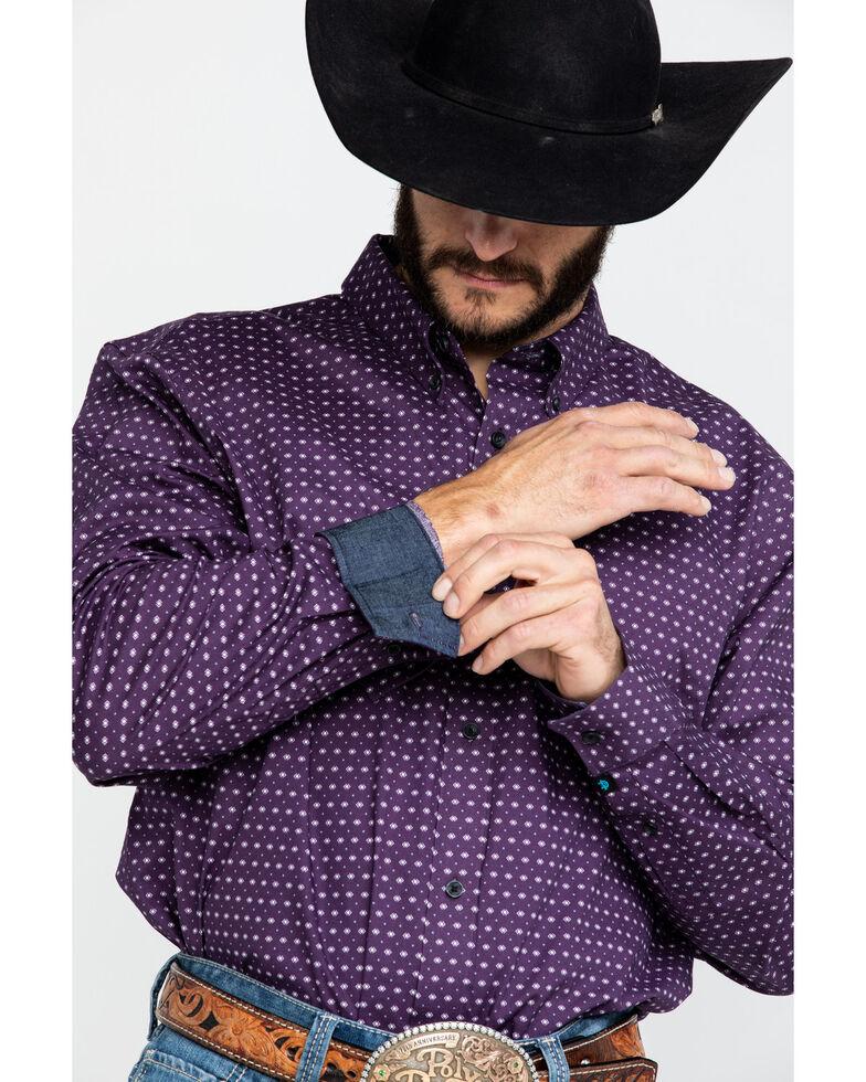 Cody James Core Men's Diamond Falls Geo Print Long Sleeve Western Shirt , Purple, hi-res