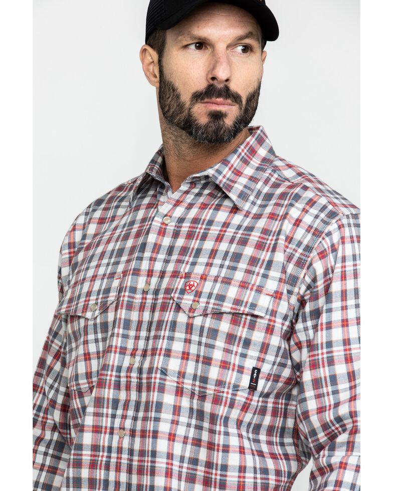 Ariat Men's Carbon FR Classic Plaid Long Sleeve Work Shirt - Tall , White, hi-res
