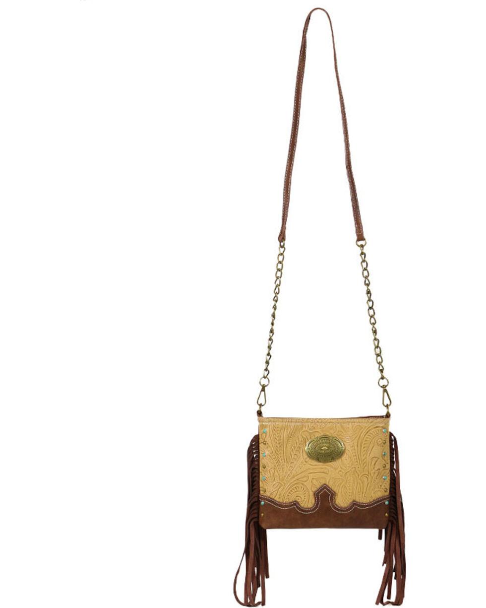 Waywest Women's Floral Tooled Fringe Shoulder Bag, Tan, hi-res