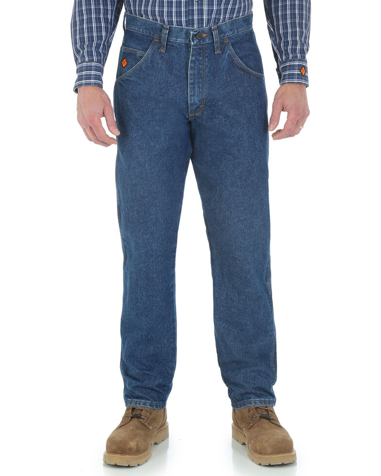 bf900a9e Zoomed Image Wrangler Men's Flame Resistant Relaxed Fit Jeans , Indigo,  hi-res