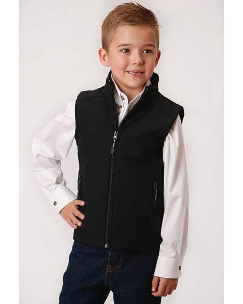 Roper Boys' Black Softshell Fleece Vest , Black, hi-res