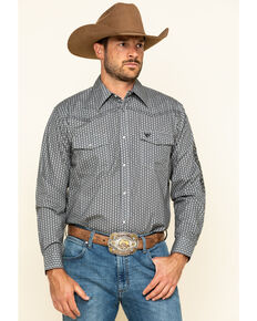 Cowboy Hardware Men's Charcoal Overlap Geo Print Long Sleeve Western Shirt , Charcoal, hi-res