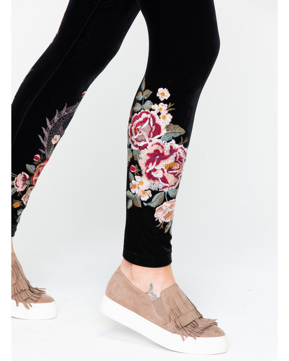 Johnny Was Women's Dragon Velvet Floral Leggings , Black, hi-res