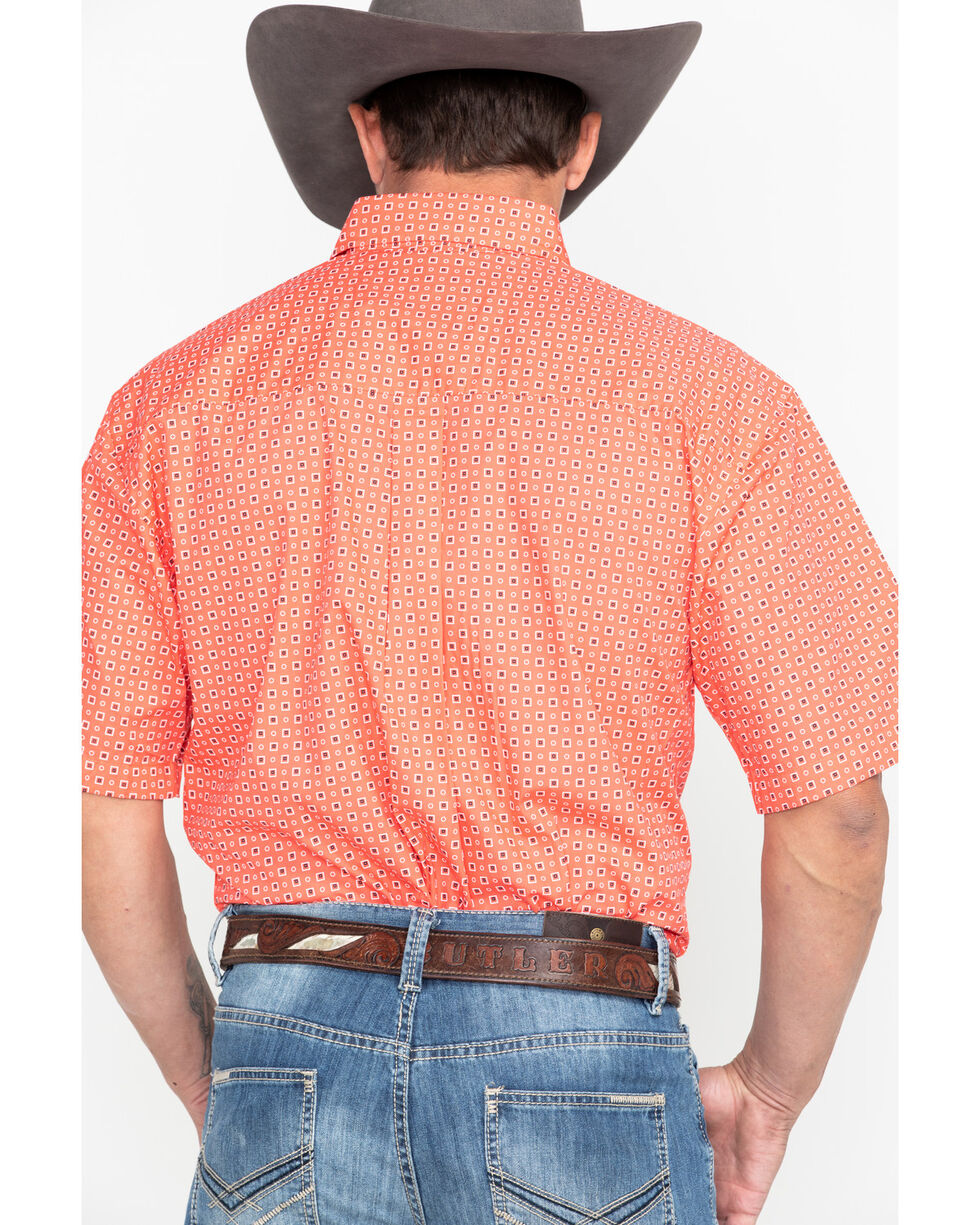 George Strait by Wrangler Coral Geo Print Short Sleeve Shirt , Coral, hi-res