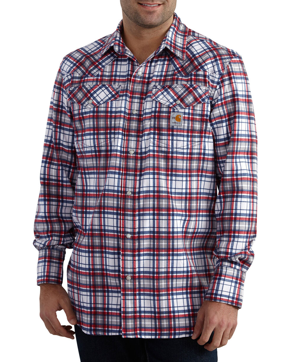 Carhartt Men's Red Flame-Resistant Snap-Front Plaid Shirt - Tall , Navy, hi-res