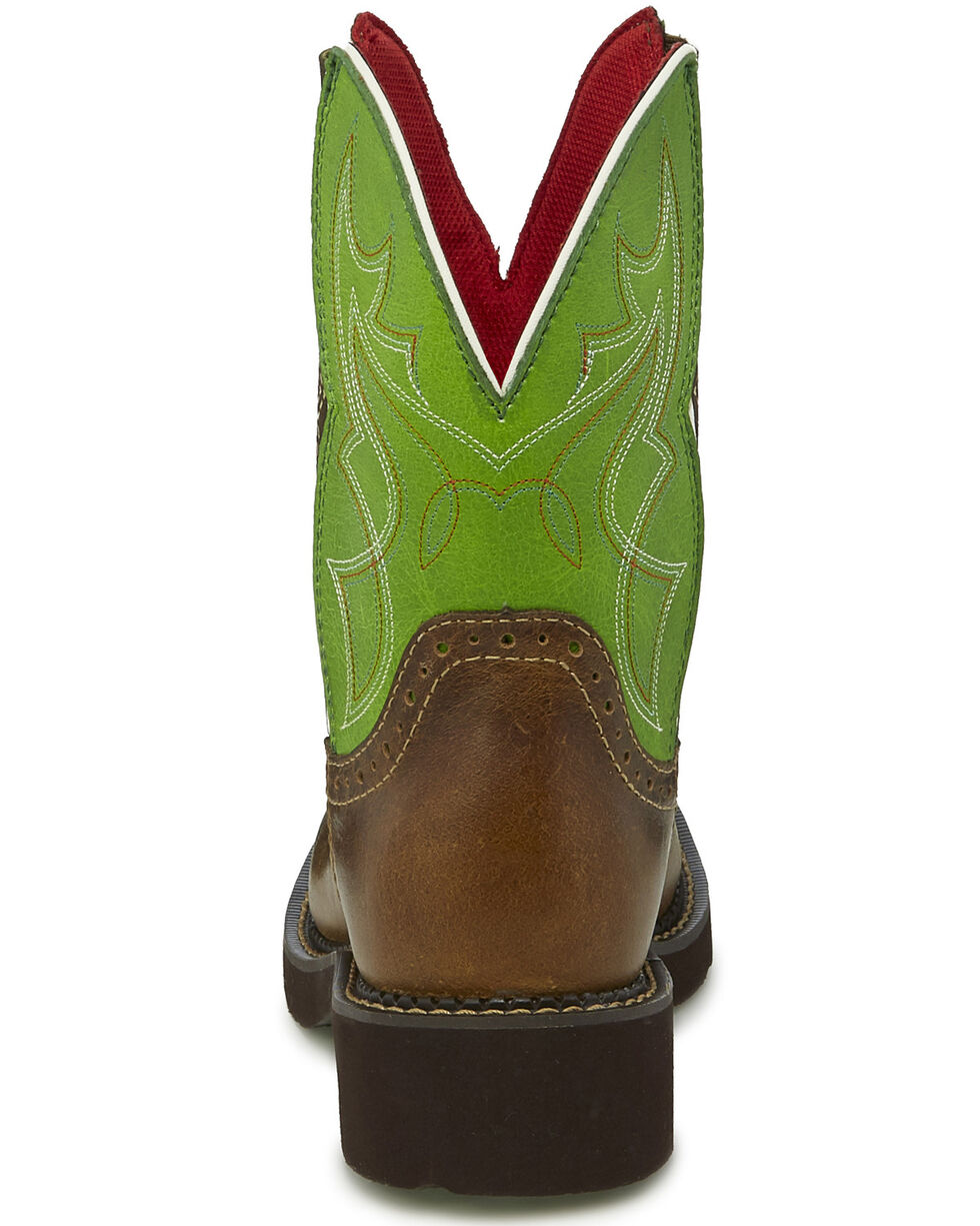 Justin Women's Mandra Green Western Boots - Wide Square Toe, , hi-res