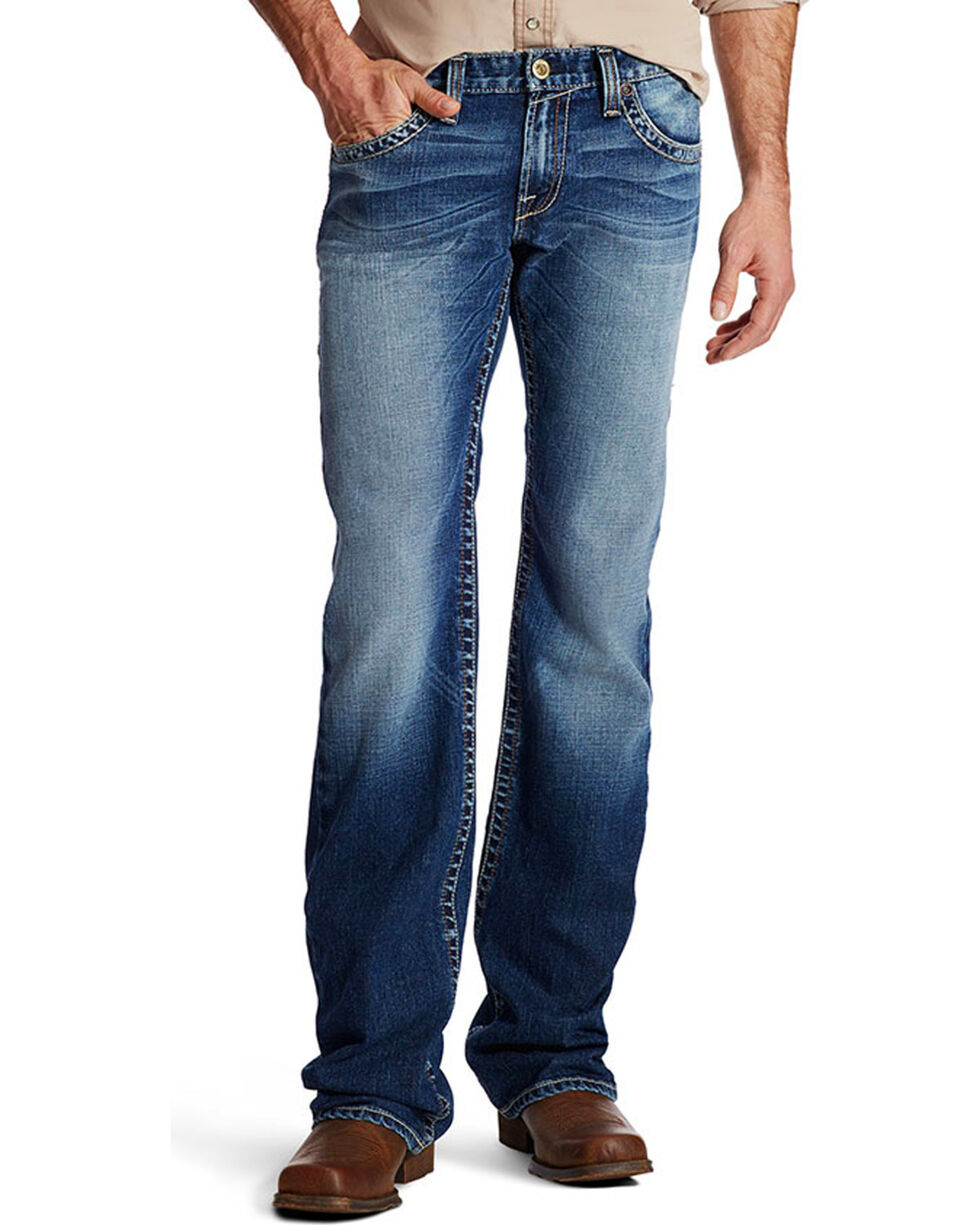 Ariat Men's Embroidered Boot Cut Jeans, Indigo, hi-res