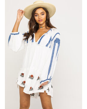 Free People Women's Wild Horse Embroidered Mini Dress, Ivory, hi-res