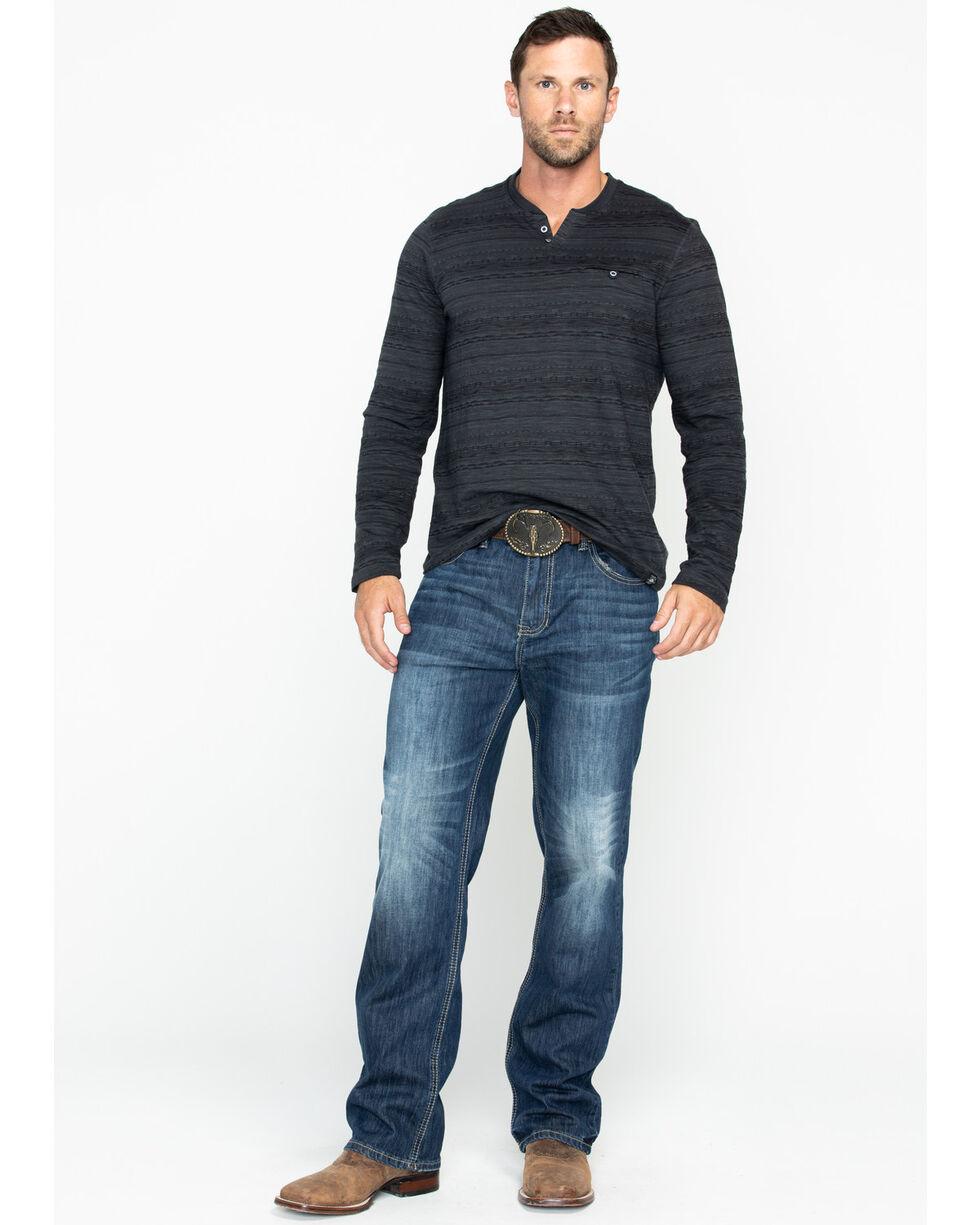 American Republic Men's Printed Slub Jersey Henley Long Sleeve Shirt , Grey, hi-res