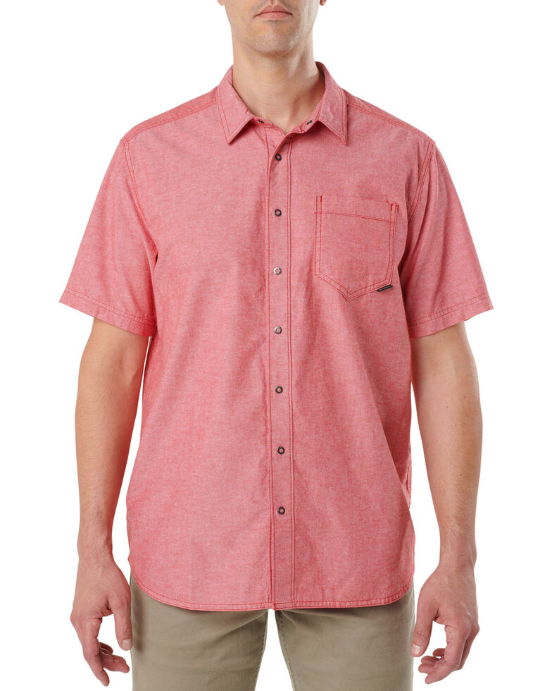 5.11 Tactical Men's Ares Short Sleeve Shirt , Red, hi-res