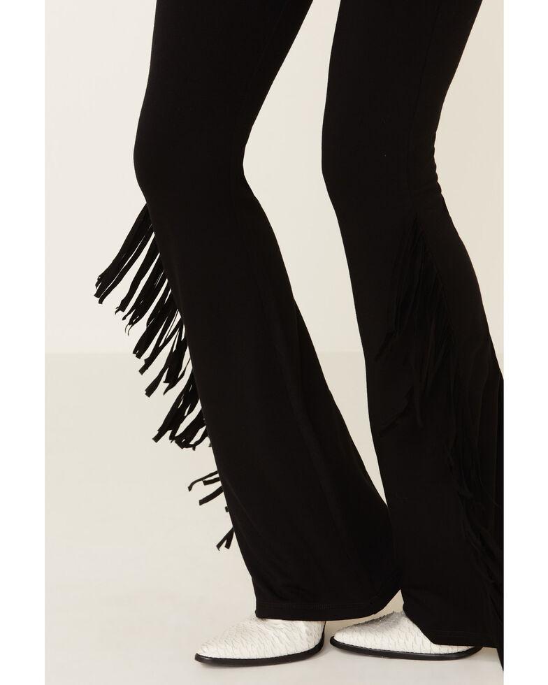 Idyllwind Women's High Rise Black Fringe Leggings, Black, hi-res