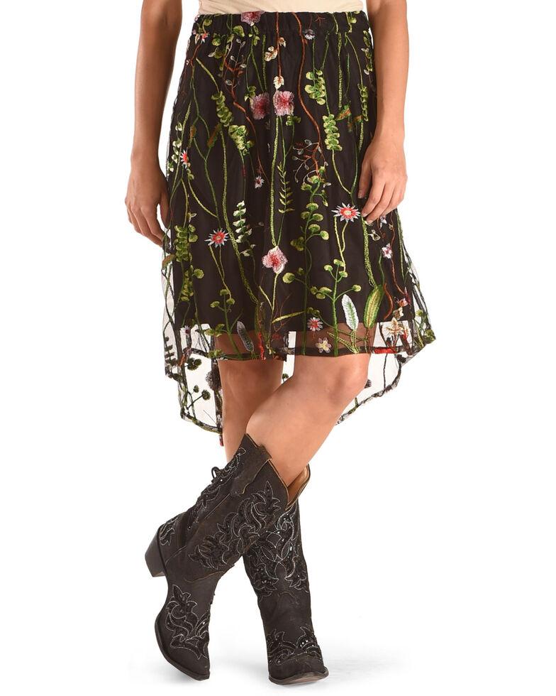New Direction Sport Black Sheer Embellished Skirt , Black, hi-res