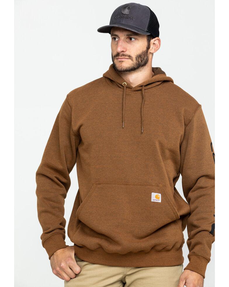 Carhartt Men's Mid Weight Hooded Logo Work Sweatshirt , Brown, hi-res