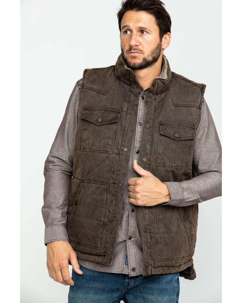 Cody James Men's Oil Tanker Heavy Weight Puffer Vest , Brown, hi-res
