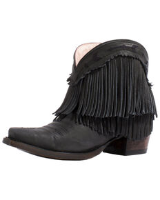 Junk Gypsy by Lane Women's Spitfire Mustard Fringe Booties - Snip Toe, Black, hi-res