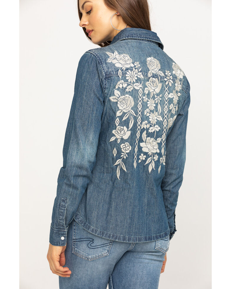 Stetson Women's Floral Embroidered Denim Long Sleeve Western Shirt, Blue, hi-res