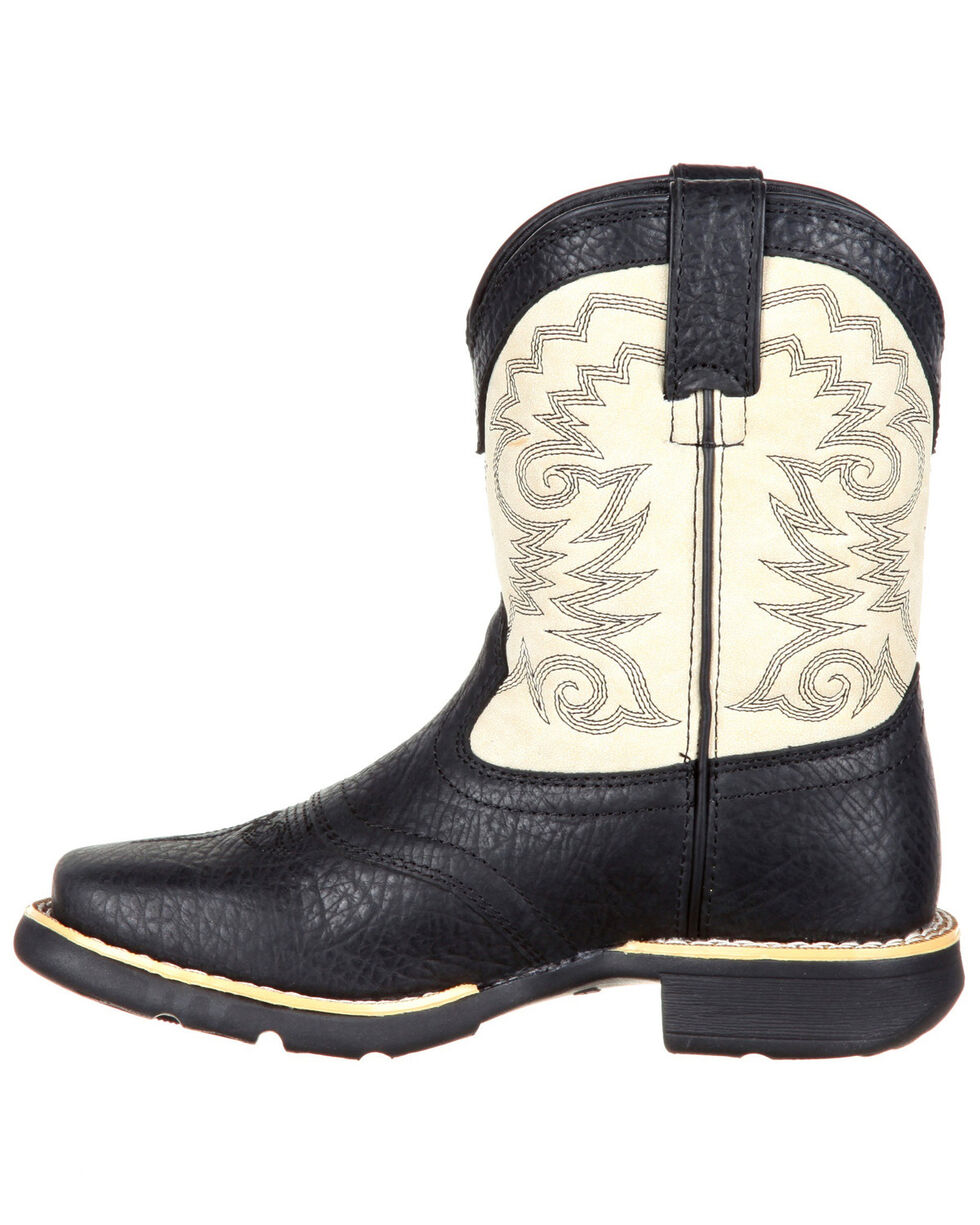 Durango Boys' Lil' Mustang Western Saddle Boots - Square Toe, Black, hi-res