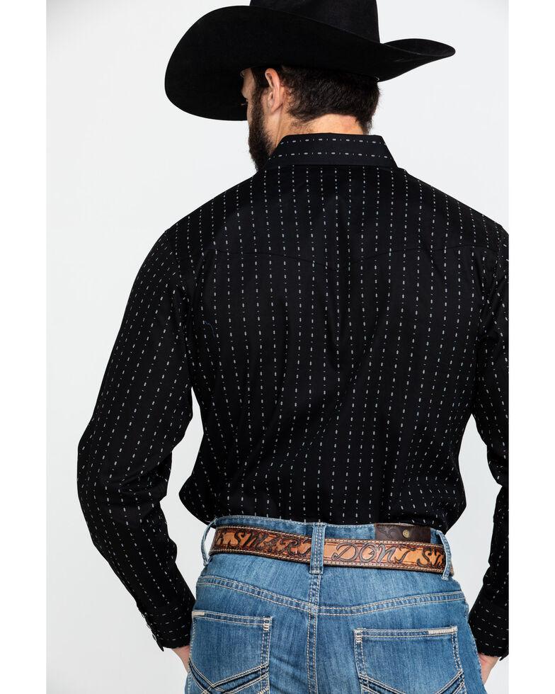Jack Daniel's Men's Embroidered Logo Geo Print Long Sleeve Western Shirt , Black, hi-res