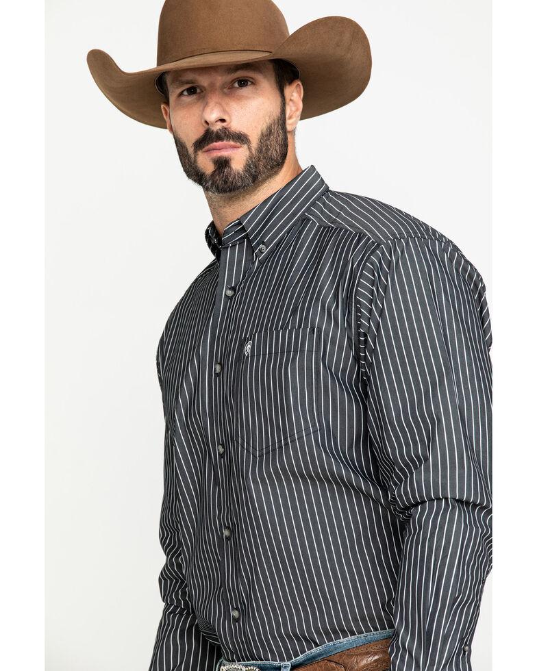 Ariat Men's Kirkland Stretch Striped Long Sleeve Western Shirt , Black, hi-res