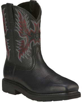 Ariat Men's Sierra Steel Toe Work Boots, Black, hi-res