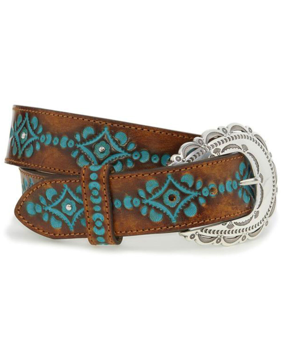 Justin Women's Brown Tooled Leather Belt , Brown, hi-res