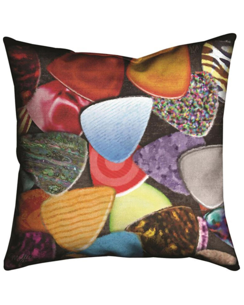 Manual Woodworkers Without Music Guitar Picks Pillow, Multi, hi-res