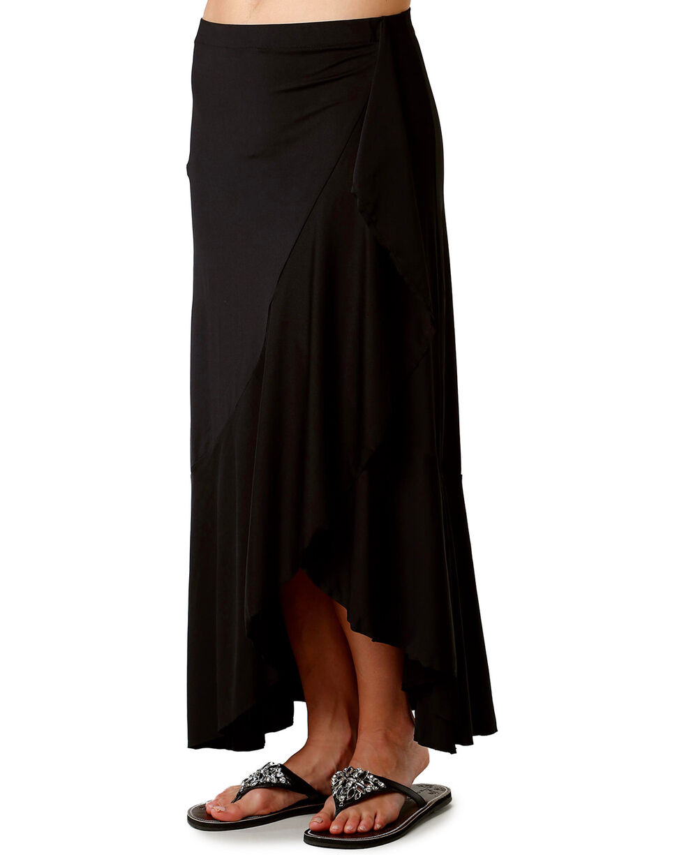 Roper Women's Black Faux Wrap Skirt , Black, hi-res