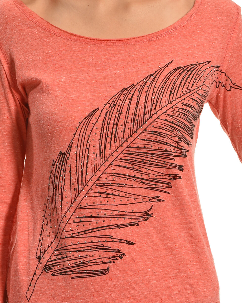 Rock & Roll Cowgirl Women's Coral Feather Print Long Sleeve Tee , Coral, hi-res