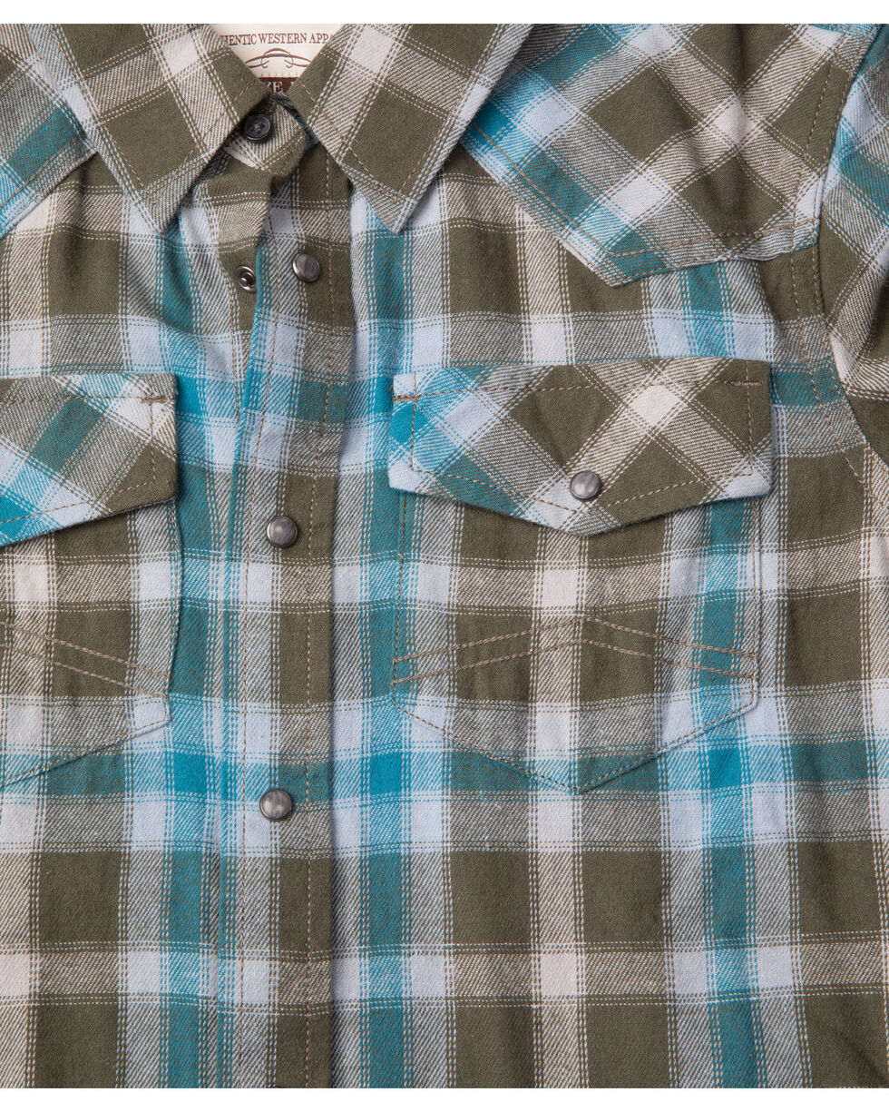 Cody James Boys' Juneau Plaid Long Sleeve Flannel Shirt , Blue, hi-res