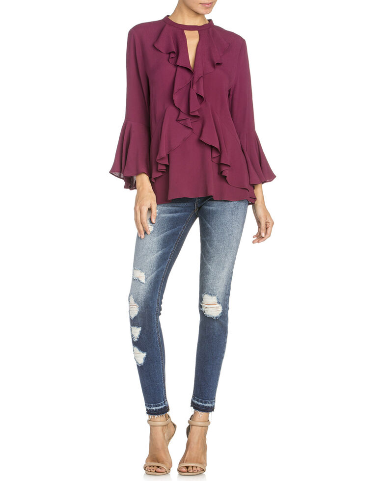 Miss Me Women's Ruffle Front Bell Sleeve Blouse, Wine, hi-res