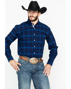 Rough Stock by Panhandle Men's Ellington Vintage Ombre Plaid Long Sleeve Western Shirt , Dark Blue, hi-res