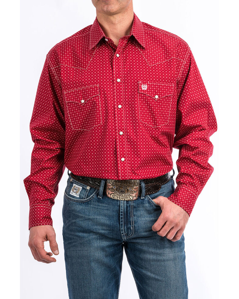 Cinch Men's Red Square Dot Geo Print Long Sleeve Western Shirt , Red, hi-res