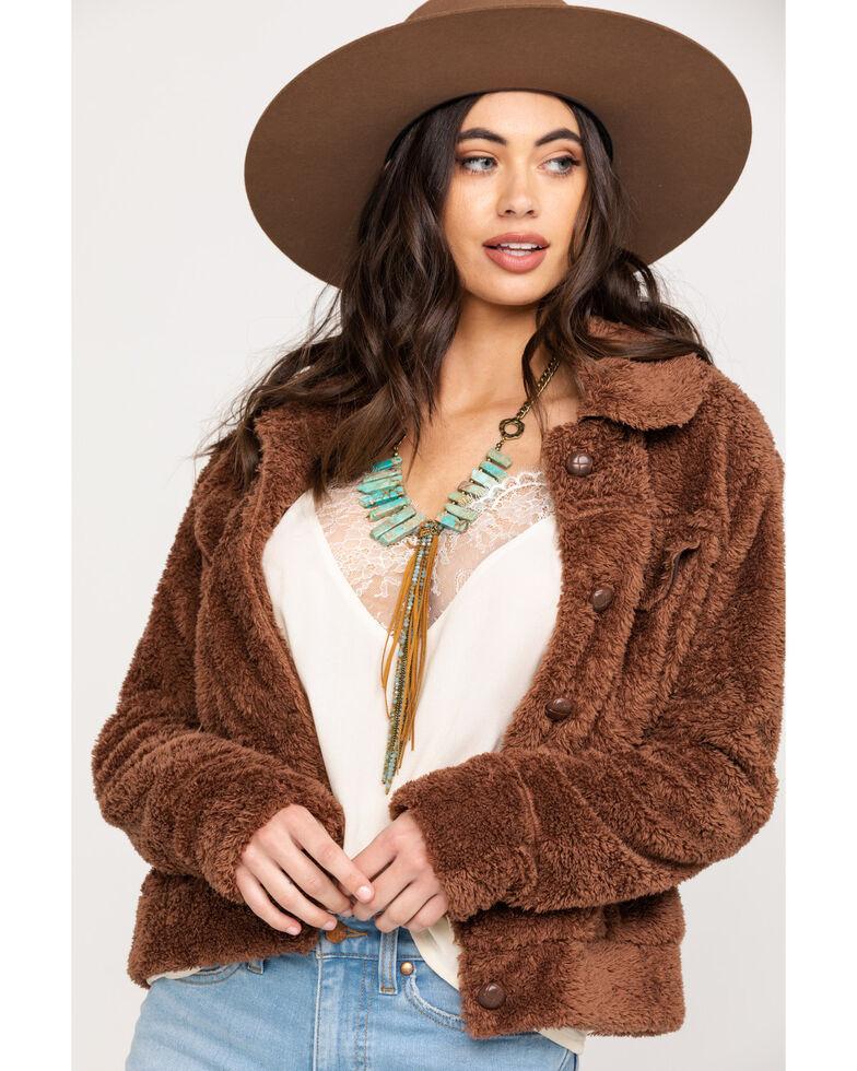 Stetson Women's Brown Faux Fur Jacket, Brown, hi-res