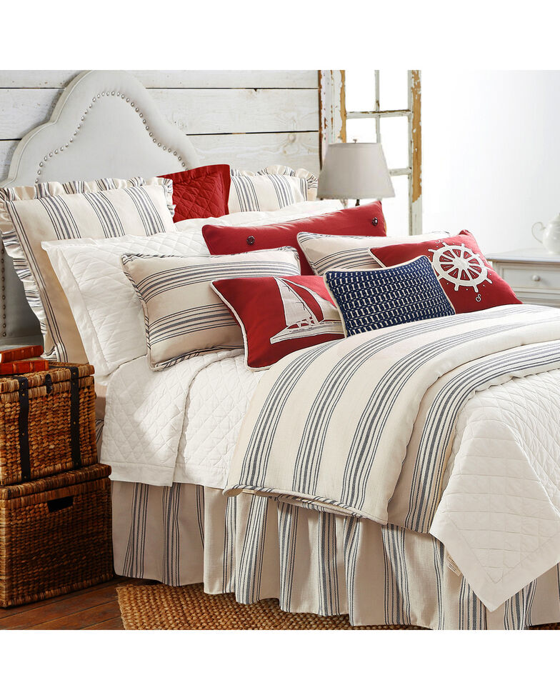 HiEnd Accents 3-Piece Prescott Stripe Navy Queen Set, Taupe, hi-res