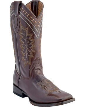 Ferrini Men's Apache Western Boots - Square Toe , Chocolate, hi-res