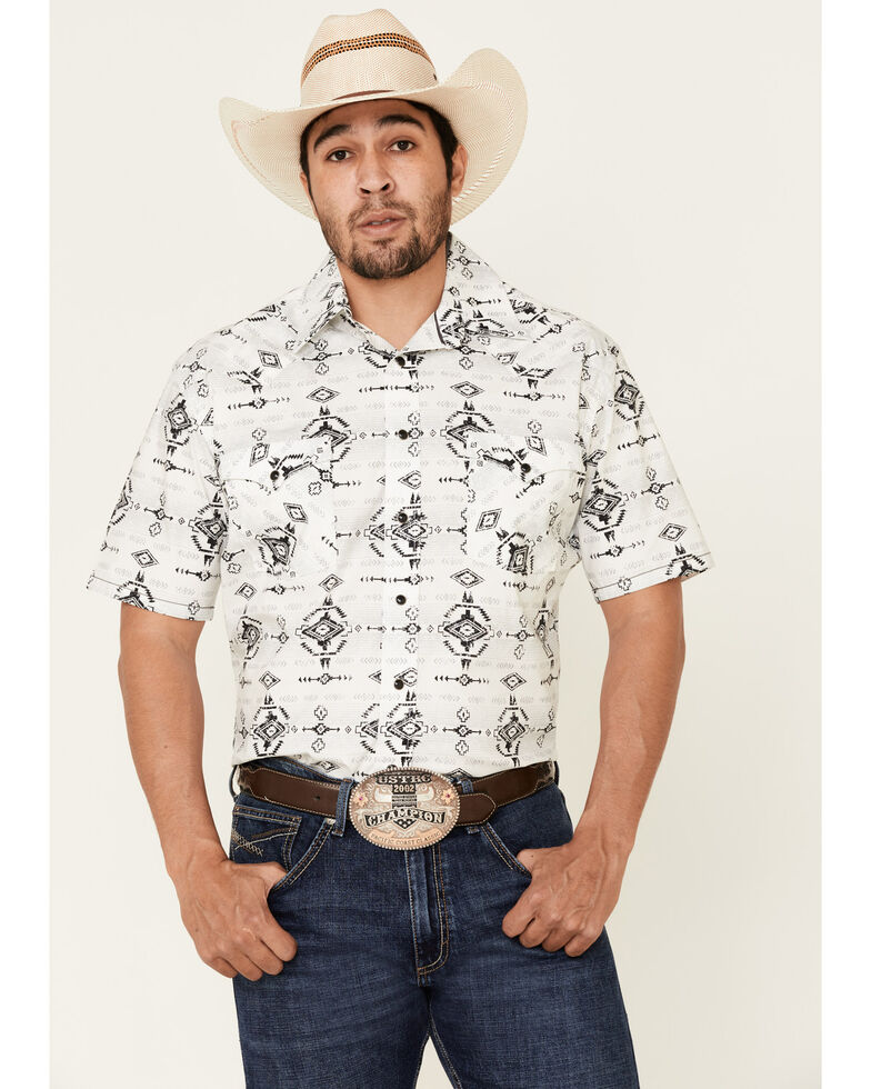 Rough Stock By Panhandle Men's Light Grey Aztec Print Short Sleeve Western Shirt , Light Grey, hi-res