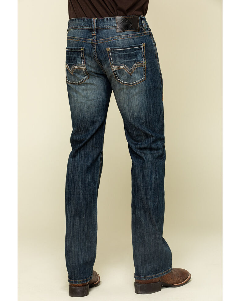 Rock & Roll Denim Men's Pistol Dark Stretch Straight Jeans , Blue, hi-res