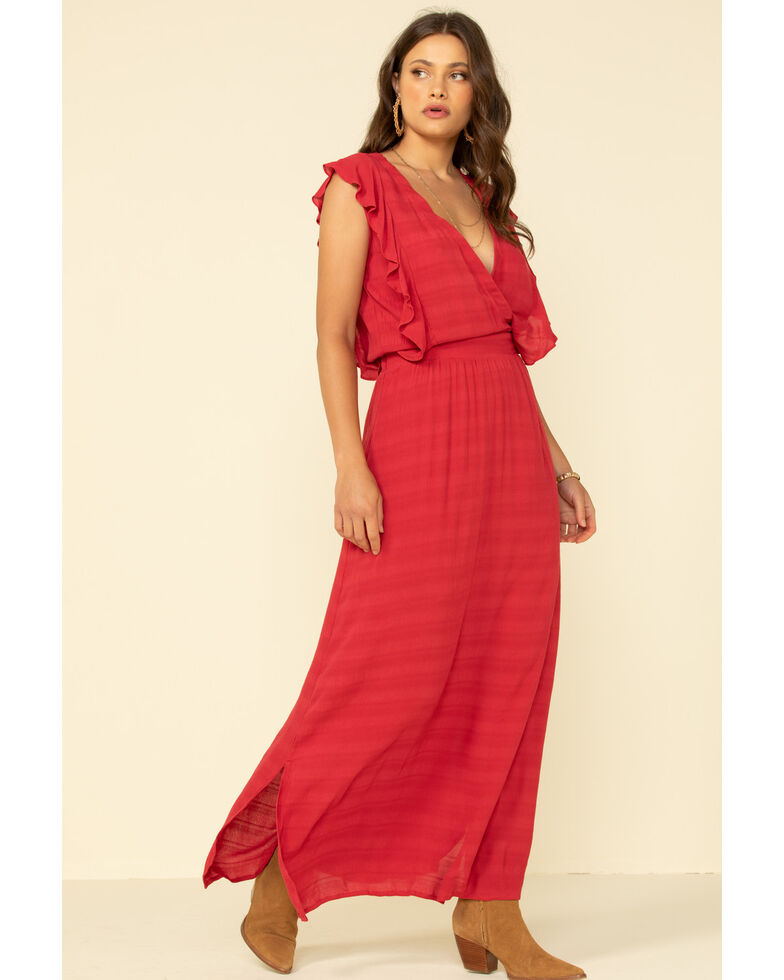 Stetson Women's Red Textured Ruffle Maxi Dress, Red, hi-res